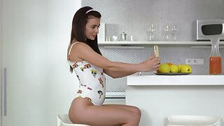 Consolidated boobs merely babe Kate Eleemosynary from Russia moans while masturbating