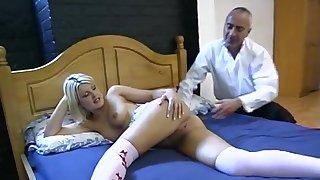 Blonde MILF bombshell in a skirt Elle Brooke doggy fucked in socks