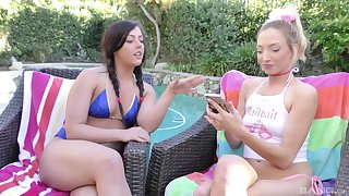 Outdoor blowjob and a threesome with Zoe Parker and Whitney Wright