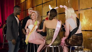 Lucia Love shares cum with her girlfriends at a wedding orgy