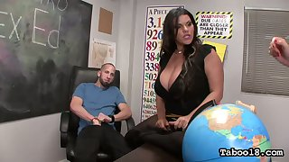 Really wild busty Angelina Castro gives blowjob together with footjob to her stud