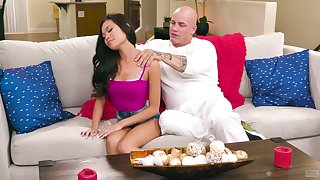 Small tits owner Vina Sky is poked from behind by her aroused scantling
