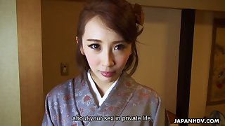 Kawaii Japanese housewife Aya Kisaki wanna get break a escape masturbated with vibe