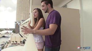emaciate teen has fun with her big-dicked BF