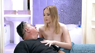 Lucky plump old revile is treated down a good blowjob by horny Kiki Cyrus