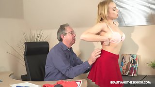 Older guy seduced by his younger secretary Rebecca Nefarious for sex